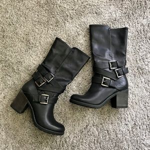 MIA Black Leather Buckle Tall Boots | Women's 8.5